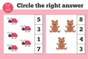 jeu de comptage pour les enfants d'âge préscolaire. enseignement à domicile. éducatif un jeu mathématique. vecteur