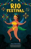 affiche festival de rio avec fond de feu dartifice vecteur