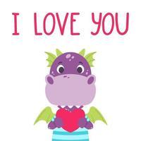 joli dragon violet avec coeur et citation de lettrage dessiné à la main - je t'aime. carte de voeux Saint Valentin. illustration vectorielle isolée sur fond blanc pour impression, carte et affiche. vecteur