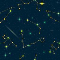 modèle sans couture de constellations du zodiaque. espace vectoriel et illustration des étoiles.