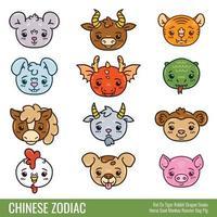 mignon zodiaque chinois. vecteur
