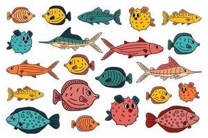 Ensemble de poissons sous-marins de vecteur de dessin animé différent de contour, tang, plie, thon, burrfish, marlin de mer