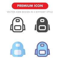 pack d'icônes de sac à dos isolé sur fond blanc. pour la conception de votre site Web, logo, application, interface utilisateur. illustration graphique vectorielle et trait modifiable. eps 10. vecteur