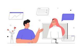 discussion en ligne et concept de vidéoconférence. vecteur