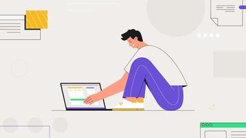 pigiste de personnage masculin assis et travaille avec un ordinateur portable, dans le contexte d'objets abstraits et de formes. illustration vectorielle de style plat dans un style branché. vecteur
