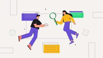 le concept de travail d'équipe, entreprise, partenariat, coopération. personnage masculin et féminin travaillant sur site Web ou application, conception et programmation d'interface utilisateur, recherche et prototypage. vecteur