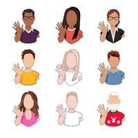 femmes et hommes de différentes races et âges agitant les mains saluant ou disant au revoir isolé sur fond blanc. dessin animé personnages féminins et masculins avec un geste de bienvenue en illustration vectorielle. vecteur