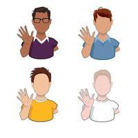 jeunes hommes de races différentes agitant les mains saluant ou disant au revoir isolé sur fond blanc. personnages masculins de dessin animé avec un geste de bienvenue en illustration vectorielle. vecteur