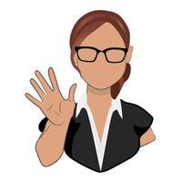 jeune fille agitant la main salutation ou dire au revoir isolé sur fond blanc. personnage féminin de dessin animé avec un geste de bienvenue en illustration vectorielle vecteur