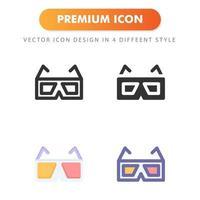 Icône de lunettes 3D isolé sur fond blanc. pour la conception de votre site Web, logo, application, interface utilisateur. illustration graphique vectorielle et trait modifiable. eps 10. vecteur