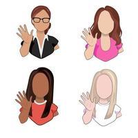 jeunes femmes de races différentes agitant les mains saluant ou disant au revoir isolé sur fond blanc. personnages féminins de dessin animé avec un geste de bienvenue en illustration vectorielle. vecteur