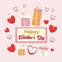 carte de la Saint-Valentin avec des coeurs, des lettres de voeux et des coffrets cadeaux. illustration vectorielle. vecteur