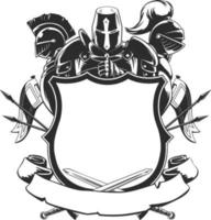 Chevalier bouclier silhouette manteau de crête de bras ornement illustration noire vecteur