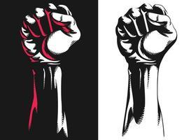Silhouette soulevée rist main serrée dessin illustration de protestation vecteur