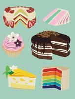 gâteaux de fête. ensemble d'icônes de vecteurs de dessert avec un look délicieux vecteur