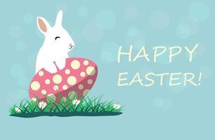 illustration vectorielle mignon lapin de Pâques et oeuf. carte de voeux de printemps avec l'écriture de joyeuses pâques.