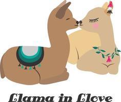 lama amoureux. illustration vectorielle amusante et créative. carte de voeux de la Saint-Valentin. conception imprimable pour t-shirts, affiches, couvertures, cartes, etc. vecteur
