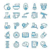 ensemble d'icônes de la science avec un style bleu.