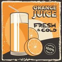 affiche de signalisation de jus de fruits orange rétro vecteur classique rustique