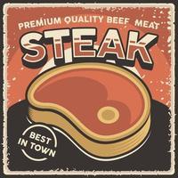 affiche de steak de boeuf vintage rétro vecteur