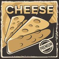 affiche de signalisation de fromage rétro vecteur classique rustique