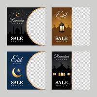 ramadan kareem heureux eid mubarak vente réduction bannière vecteur