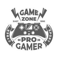 affiche de la zone de jeu. jeu pro. cyber sport. logo du jeu. illustration vectorielle. vecteur