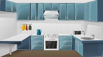 design d'intérieur de cuisine. chambre avec réfrigérateur, four, micro-ondes, évier et bouilloire. meubles de placard. illustration vectorielle vecteur