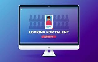 à la recherche d'illustration web de talent. recrutement en entreprise. concept d'entrevue d'emploi. vecteur