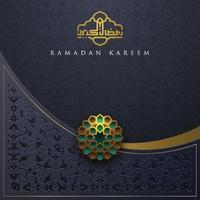 carte de voeux ramadan kareem conception de vecteur de motif floral islamique avec calligraphie arabe pour le fond, bannière. traduction du texte ramadan kareem - que la générosité vous bénisse pendant le mois sacré