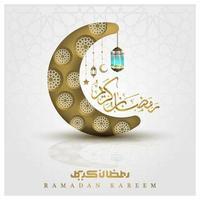 ramadan kareem salutation conception de vecteur de fond illustration islamique avec belle calligraphie arabe et lune