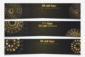 trois eid mubarak saluant conception de vecteur de motif floral islamique avec calligraphie arabe