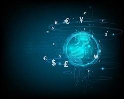 Technologie de réseau financier abstraite et échange de devises sur fond bleu