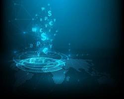 technologie d'échange de devises. symbole d'icône réseau vitesse abstraite bleue