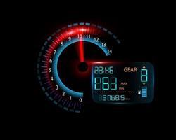 écran d'affichage de la voiture tout en roulant à des vitesses numériques et analogiques vecteur