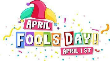 logo de police du jour du poisson d'avril avec chapeau de bouffon et confettis colorés vecteur