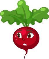 Personnage de dessin animé de radis avec une expression de visage choqué sur fond blanc vecteur
