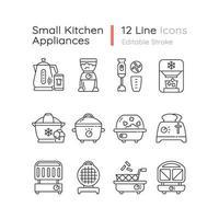 ensemble d & # 39; icônes linéaires petit appareil de cuisine vecteur