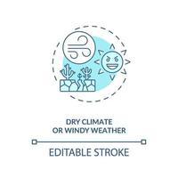 icône de concept de climat sec ou de temps venteux vecteur