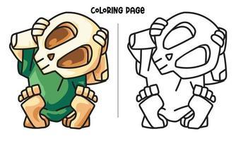 le crâne redresser la tête coloriage
