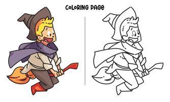 Coloriage de petit sorcier heureux sur un balai vecteur