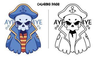 coloriage de pirate crâne