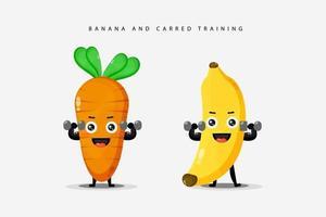 mignons exercices de haltères à la banane et à la carotte vecteur