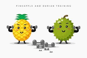 mignons exercices d'haltères d'ananas et de durian vecteur