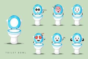 mignon ensemble de mascotte de cuvette de toilette vecteur
