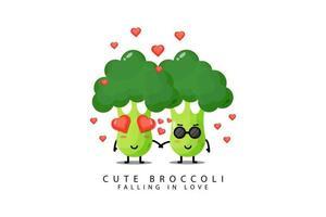 Les légumes brocolis mignons tombent amoureux vecteur