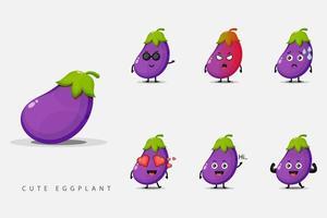 ensemble de personnages mignons aubergine vecteur