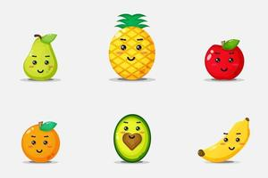 ensemble de visages de fruits souriants mignons vecteur