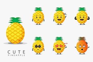 ensemble d'ananas mignon vecteur