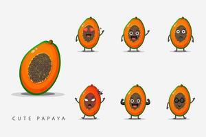 ensemble de mascottes mignonnes de papaye vecteur
